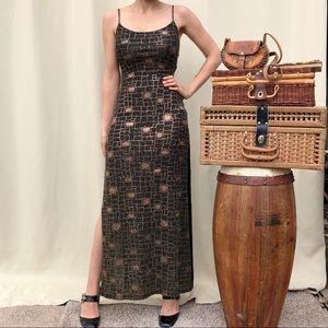 Vintage maxi bodycon sequin side split dress